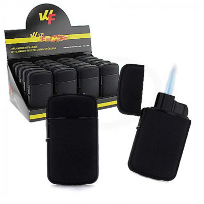 Wildfire - JetFlame aansteker - Bolly Rubber - Zwart - Display (20-stuks)