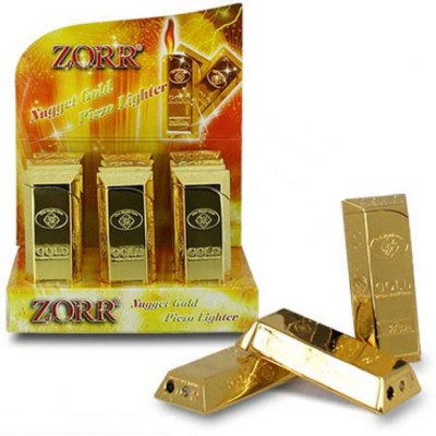 Zorr Gold Nugget Polished - Piezo aansteker - Display (12-stuks)