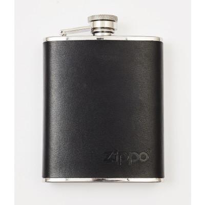 Zippo Accessoires - Zippo Flask - Zwart Leer 6oz.
