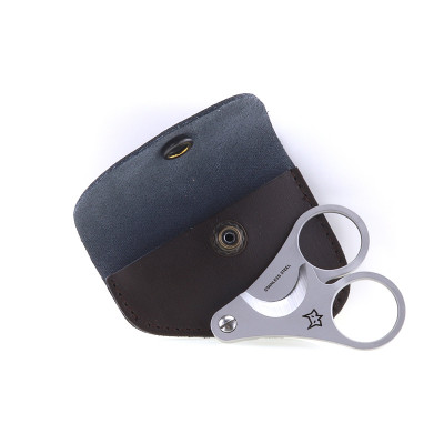 FOX - Due Cigni Cigar Cutter - Bead Blasted + Leather Pouch