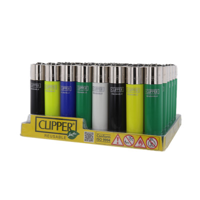 Clipper Classic - Vuursteen aansteker - Solid Assorted - Display (48-stuks)