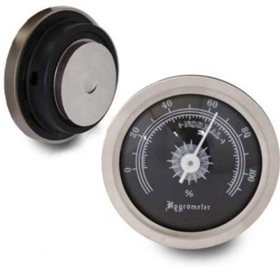 Hygrometer 45mm/36mm mat chroom/zwart