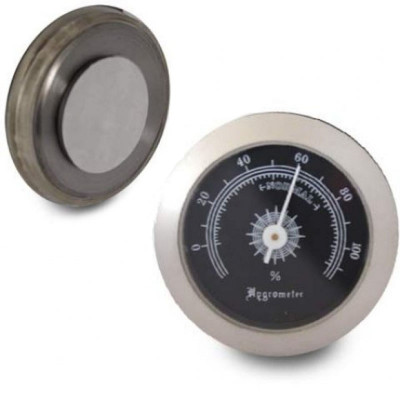 Hygrometer 50mm/45mm mat chroom/zwart