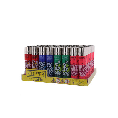 Clipper - Vuursteen aansteker - Happy Sentences - Display (48-stuks)